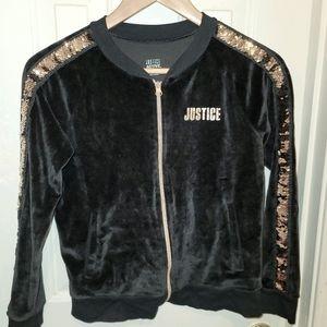 Justice Active sequined velour zip-up, Girls 12